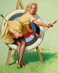Pin-up and Glamour Art, GIL ELVGREN (American, 1914-1980). A Near Miss (Right OnTarget), Brown & Bigelow calendar pin-up, 1964. Oil oncanvas. ...