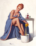Paintings, GIL ELVGREN (American, 1914-1980). It's Nothing To Sneeze At, Brown & Bigelow calendar pin-up, 1947. Oil on canvas. 30 x...