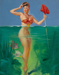 Paintings, GIL ELVGREN (American, 1914-1980). Surprise Catch, Brown & Bigelow calendar pin-up, 1952. Oil on canvas. 30 x 24 in.. No...