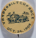 "Books:Americana & American History, Lapel Button. ""Vanderbilt Cup Race Oct. 24, 1908"". About 1 inch indiameter. Some cracking and toning. Fair...."