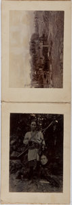 Books:Photography, [Photography]. Small photo album of Asian scenes and portraits, including one of a man holding a human head. [N.p., n.d., ca...