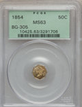 California Fractional Gold: , 1854 50C Liberty Octagonal 50 Cents, BG-305, Low R.4, MS63 PCGS.PCGS Population (35/8). NGC Census: (3/5). ...