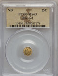 California Fractional Gold: , Undated 25C Liberty Round 25 Cents, BG-221, R.3, MS63 PCGS. PCGSPopulation (53/44). NGC Census: (11/7). ...