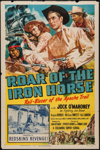 "Roar of the Iron Horse (Columbia, 1951). One Sheet (27"" X 41"") Chapter 11 -- ""Redskins' Revenge!"" Se..."