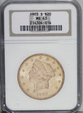 Liberty Double Eagles: , 1903-S $20 MS63 NGC. A nicely struck yellow-green piece with strongluster. A thin strike-through thread in the right obver...