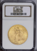 Saint-Gaudens Double Eagles: , 1911 $20 MS62 NGC. A charming orange-gold piece with pleasingluster. The sharply struck devices have some abrasions, parti...