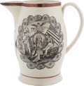 Political:3D & Other Display (pre-1896), George Washington: A Scarce Large Liverpool Creamware Pitcher with Uncommon Portrait Transfer. ...