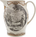 Political:3D & Other Display (pre-1896), Washington City: A Superb Large Liverpool Creamware Pitcher, Circa late 1790s, Featuring Figures of Liberty Unveiling a Map of...