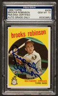 Autographs:Sports Cards, Signed 1959 Topps Brooks Robinson #439 PSA/DNA Gem MT 10. ...