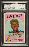 Autographs:Sports Cards, Signed 1959 Topps Bob Gibson #514 PSA/DNA Gem MT 10. ...