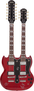 Musical Instruments:Electric Guitars, Led Zeppelin's Jimmy Page, Robert Plant, and John Paul Jones SignedCherry Double Neck Gibson Epiphone....