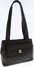 Luxury Accessories:Bags, Chanel Black Lambskin Leather Shoulder Bag with Gold CC Turnlock....