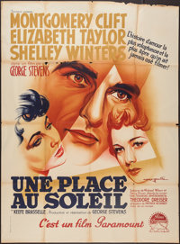 "A Place in the Sun (Paramount, 1951). French Grande (47"" X 63""). Drama"