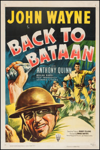 "Back to Bataan (RKO, R-1950). One Sheet (27"" X 41""). War"