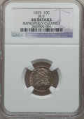 Bust Dimes: , 1835 10C -- Improperly Cleaned -- NGC Details. AU. JR-5. NGCCensus: (16/369). PCGS Population (48/288). Mintage: 1,410,00...
