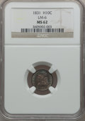 Bust Half Dimes: , 1831 H10C MS62 NGC. LM-6. NGC Census: (104/357). PCGS Population(75/264). Mintage: 1,200,000. Numismedia Wsl. Price for p...