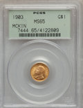 Commemorative Gold: , 1903 G$1 Louisiana Purchase/McKinley MS65 PCGS. PCGS Population(542/512). NGC Census: (396/482). Mintage: 17,500. Numismed...
