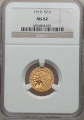 Indian Quarter Eagles: , 1910 $2 1/2 MS62 NGC. NGC Census: (2687/2257). PCGS Population(979/1126). Mintage: 492,000. Numismedia Wsl. Price for prob...