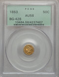 California Fractional Gold: , 1853 50C Liberty Round 50 Cents, BG-428, R.3, AU58 PCGS. PCGSPopulation (64/154). NGC Census: (14/39). ...