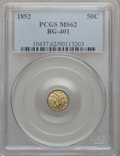 California Fractional Gold: , 1852 50C Liberty Round 50 Cents, BG-401, R.3, MS62 PCGS. PCGSPopulation (31/38). NGC Census: (3/8). ...