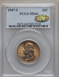 Washington Quarters, 1947-S 25C MS66 PCGS. Gold CAC. PCGS Population (1616/138). NGCCensus: (2048/655). Mintage: 5,532,000. Numismedia Wsl. Pri...