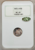 Seated Half Dimes, 1872 H10C MS63 NGC. Gold CAC. NGC Census: (73/123). PCGS Population(96/95). Mintage: 2,947,950. Numismedia Wsl. Price for ...