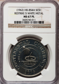 (1962) Continental Dollar Restrike, White Metal MS67 Prooflike NGC. HK-854A