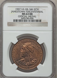 1907 Jamestown Tercentennial, Official Medal MS63 Red and Brown NGC. HK-346