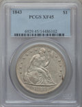 Seated Dollars: , 1843 $1 XF45 PCGS. PCGS Population (100/232). NGC Census: (59/258).Mintage: 165,100. Numismedia Wsl. Price for problem fre...