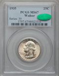 Washington Quarters: , 1935 25C MS67 PCGS. CAC. Ex: Walser. PCGS Population (80/1). NGCCensus: (117/0). Mintage: 32,484,000. Numismedia Wsl. Pric...