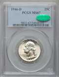 Washington Quarters: , 1946-D 25C MS67 PCGS. CAC. PCGS Population (33/0). NGC Census:(253/1). Mintage: 9,072,800. Numismedia Wsl. Price for probl...