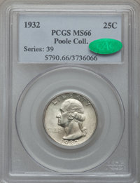 1932 25C MS66 PCGS. CAC. Ex: Poole Collection. PCGS Population (165/2). NGC Census: (88/2). Mintage: 5,404,000. Numismed...