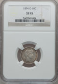 Barber Dimes: , 1894-O 10C XF45 NGC. NGC Census: (6/39). PCGS Population (6/59).Mintage: 720,000. Numismedia Wsl. Price for problem free N...