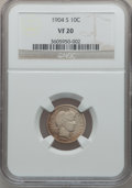 Barber Dimes: , 1904-S 10C VF20 NGC. NGC Census: (4/79). PCGS Population (9/147).Mintage: 800,000. Numismedia Wsl. Price for problem free ...
