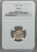 Mercury Dimes: , 1921 10C VF20 NGC. NGC Census: (25/246). PCGS Population (47/362).Mintage: 1,230,000. Numismedia Wsl. Price for problem fr...