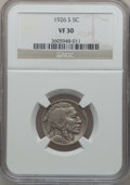 Buffalo Nickels: , 1926-S 5C VF30 NGC. NGC Census: (136/531). PCGS Population(142/668). Mintage: 970,000. Numismedia Wsl. Price for problem f...