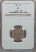 Liberty Nickels: , 1885 5C Good 4 NGC. NGC Census: (89/428). PCGS Population (95/822).Mintage: 1,476,490. Numismedia Wsl. Price for problem f...