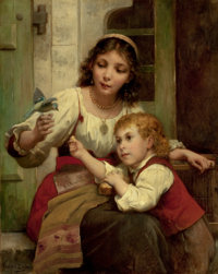 FRANÇOIS LAFON (French, 1845-1945) Child and Mother with Bird Oil on canvas 36-3/4 x 28-3/4 inche