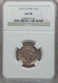 Buffalo Nickels: , 1913-S 5C Type Two AU58 NGC. NGC Census: (189/722). PCGS Population(291/981). Mintage: 1,209,000. Numismedia Wsl. Price fo...