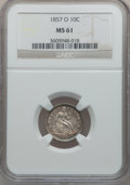 Seated Dimes: , 1857-O 10C MS61 NGC. NGC Census: (8/105). PCGS Population (4/84).Mintage: 1,540,000. Numismedia Wsl. Price for problem fre...