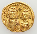 Ancients:Byzantine, Ancients: Constans II, with Constantine IV, Heraclius, and Tiberius (AD 641-668). AV solidus (4.20 gm)....