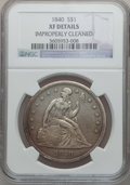 Seated Dollars: , 1840 $1 -- Improperly Cleaned -- NGC Details. XF. NGC Census:(16/191). PCGS Population (47/191). Mintage: 61,005. Numismed...