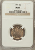 Liberty Nickels, 1886 5C MS65 NGC. NGC Census: (26/3). PCGS Population (37/5).Mintage: 3,330,290. Numismedia Wsl. Price for problem free NG...
