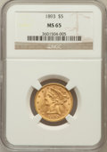 Liberty Half Eagles: , 1893 $5 MS65 NGC. NGC Census: (59/9). PCGS Population (25/6).Mintage: 1,528,197. Numismedia Wsl. Price for problem free NG...