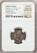 Ancients:Roman Imperial, Ancients: Augustus (27 BC-AD 14). AR denarius (3.73 gm)....