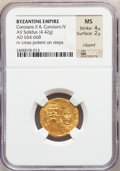 Ancients:Byzantine, Ancients: Constans II, with Constantine IV (AD 641-668). AV solidus (4.42 gm)....