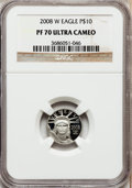 Modern Bullion Coins, 2008-W $10 Eagle Platinum PR70 Ultra Cameo NGC. NGC Census: (0).PCGS Population (383). (#393086)...