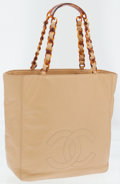 Luxury Accessories:Bags, Chanel Beige Lambskin Leather Tote Bag with Tortoise Chain Straps....