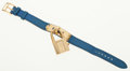 Luxury Accessories:Accessories, Hermes Gold Plated Kelly Watch with Blue France Epsom LeatherStrap. ...