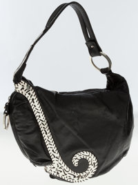 Fendi Black Leather Shoulder Bag with Sterling Silver Accents and Hardware